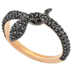 Authentic NIB Swarovski Leslie Snake Ring Rose Gold Tone/Black Size 55 US 7/M