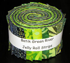 "Batik Green River Jelly Roll Green Blue Quilt Shop Fabric 20 Strips 2.5""X44"""