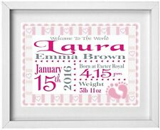 Personalised baby girl gift ebay baby girls name personalised picture new baby gift free post negle Images