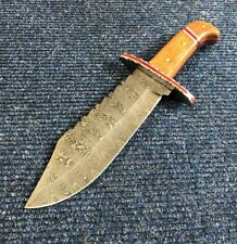 """SUPERB 10.82"""" BEAUTIFUL HANDMADE DAMASCUS STEEL HUNTING BOWIE KNIFE TOP (597"""