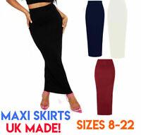 Women's Gypsy Long Jersey Bodycon Maxi Dress Skirt Ladies Midaxi Midi Skirt 8-22