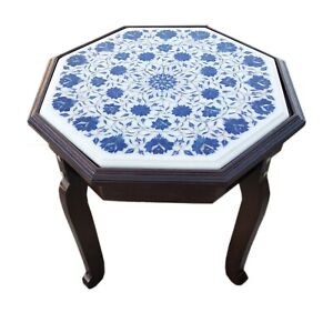 "Coffee Table 18"" handmade stone table top Lapis inlay work Wooden stand with LED"