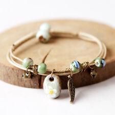 Women Handmade Multilayer Rope Leather Bangle Drop Ceramics Beads Bracelet Craft