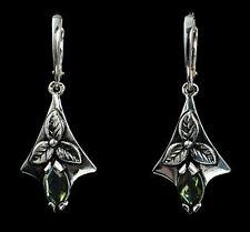 Silver earrings with Moldavite SHAMROCK inspired by Celtic mythology