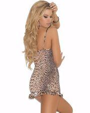 Animal Print Lingerie Set Large L Women Leopard Snake Short Babydoll Gown Panty