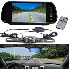 "7"" Car LCD Mirror Monitor +Wireless Rear View Backup With Night Vision Camera"