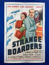 Rare STRANGE BOARDERS One Sheet Movie Poster 1938 Horror Skull Art LINEN