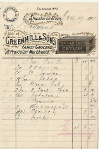 Lithograph Family Grocer's Bill 1915 Greenhill & Sons Shpston on Stour (B117)