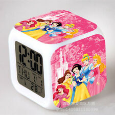 Disney Princess Doll Figure Color Changing Night Light Alarm Clock Kids Toy Gift