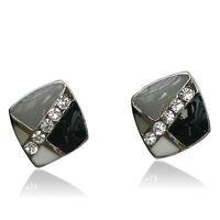 14k white Gold plated with Swarovski crystals black stud men women earrings