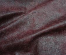 Wine Western Embossed Floral Faux Leather Vinyl Upholstery Fabric Per Yard