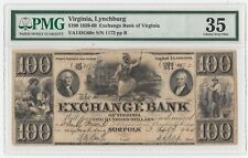 1859-1860 $100 US Exchange Bank Virginia Lynchburg PMG 35 Choice Very Fine