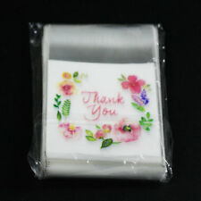 """100pcs """" thank you """" with flower pattern Self Adhesive Seal packing bags 7*7+3cm"""
