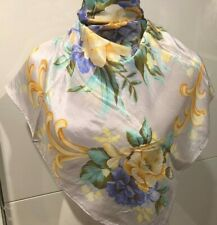 Vintage 100% Silk Floral Pastels Scarf 73cm x 73cm Hand Rolled Edges