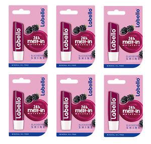 6x Labello Blackberry Shine Caring Lip Balm 6x5.5 ml Nivea FREE SHIPPING