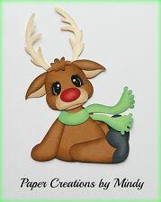 CRAFTECAFE MINDY REINDEER CHRISTMAS SANTA  premade paper piecing scrapbook page