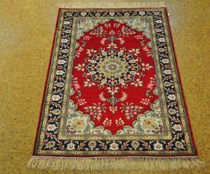 Vivid Red Rug Sale Hand-Knotted Rug 3' x 5' Oriental Design Silk