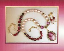 Vintage Design Pink Faux Pearl & Cabochon Pendant Necklace and Earring Set 4120