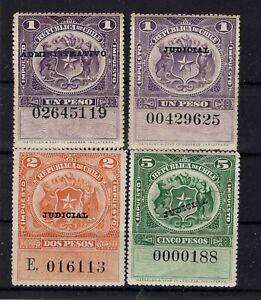 Chile TAX BOB stamps ca1930 overprint ADMINISTRATIVO JUDICIAL 4 differents