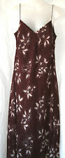 PLANET (UK14 / EU42) BROWN AND CREAM CHIFFON DRESS WITH SEQUINS AND BEADS