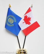 Commonwealth & Canada Double Friendship Table Flag Set
