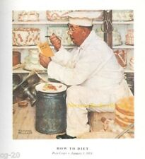 "Norman Rockwell pastry chef restaurant ""HOW TO DIET"" 11""x15"" Dieting weight loss"