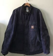 CARHARTT Large C26 MDT Sandstone Canvas Perfectly Distressed Lined Navy Blue