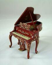 Jiayi 1:12 Dollhouse Pianoforte with stool mahogany mogano piano con sgabello