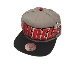 UNLV Running Rebels Mitchell & Ness Retro Snapback Flatbill Hat Grey Red Black
