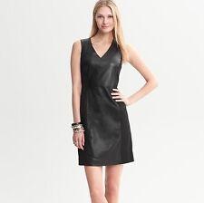 Banana Republic Leather Panel Stretch V Neck Dress sz0 NWT$298 #560711 SP13