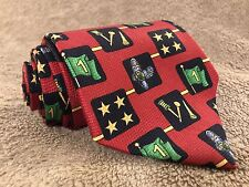 TOMMY HILFIGER Men's Red Neck Tie 100% Silk Golf Shoes Flags Stars Tees