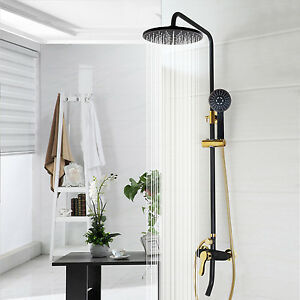 """Black golden Paint 8"""" Rainfall Shower Head Wall Mount Handheld Spray faucet set"""