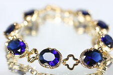 8 Oval Created 8 x 10mm Sapphire Bracelet 19.5cm / 7.67Inches