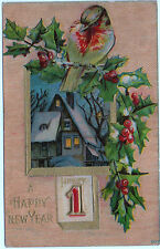 HAPPY NEW YEAR Embossed Glossy 1c Penny Postcard 1912 Message/ Unposted