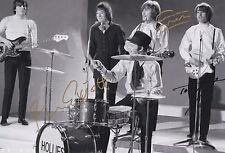 The Hollies Hand Signed 12x8 Photo, Tony Hicks, Bobby Elliott & Graham Nash