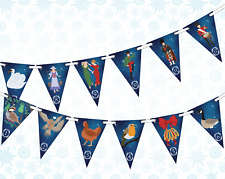 12 Days of Christmas  Bunting Banner 12 flags Christmas Pictures by PARTY DECOR