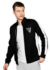 GUESS TRACK JACKET Mens Black & White Logo Performance Stretch Size L NWT
