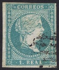 Spain 1855 1 Real Blue Very Fine Used