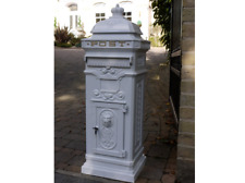 Post Mail Letter Box White Grand Pillar Cast Aluminium Freestanding Lockable Key