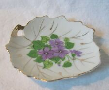 Vintage VIOLETS Pin Tray TRINKETS Tea Bag Holder JAPAN