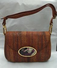 Debbie Brooks Handbag Purse Shoulder Bag Magnafab Orange Leather Croc Embossed