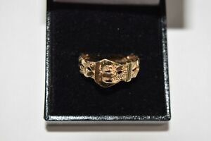 9ct Yellow Gold Gents Twist Belt Buckle Ring