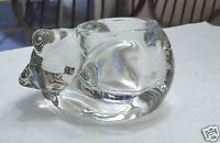 Vintage Indiana Glass Sleeping Cat Votive Candle Holder Paper Weight Made in USA