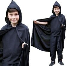 Childs Fancy Dress Hooded Cape Black Kids Childs Halloween Cloak New
