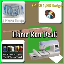 BROTHER PE770 DZ820 upgrade EMBROIDERY MACHINE W/USB EXTRA HOOPS DESIGNS