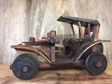 Hand Crafted Wood Classic Saloon Car with Turning Wheels NAT.CAR.E