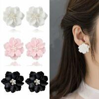 Fashion Boho Big Flowers Ear Stud Women Charm Acrylic Earrings Jewelry Gifts