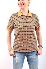 Missoni Vintage 80s Orange Black SLIM Design Polo Shirt ITALY Uk14 Stretch
