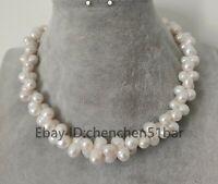 Echte gezüchtete weiße Knochen Barock Süßwasser Perlenkette 17 Zoll