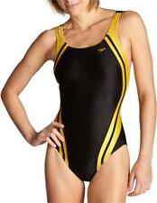 Speedo Quantum Spliced Racing Lycra Swim Suit Swimming Wear Women Black Gold 32